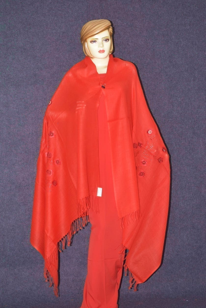 Bright RED Pure Pashmeena net embroidered woollen shawl C0443 3