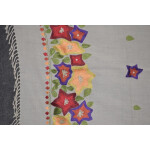 Pure Pashmina Kashmiri multicolor thread embroidered woollen stole C0447