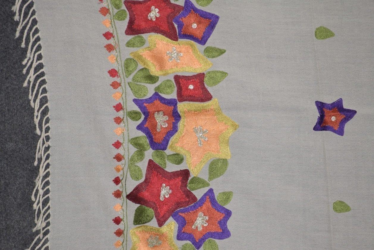 Pure Pashmina Kashmiri multicolor thread embroidered woollen stole C0447 2