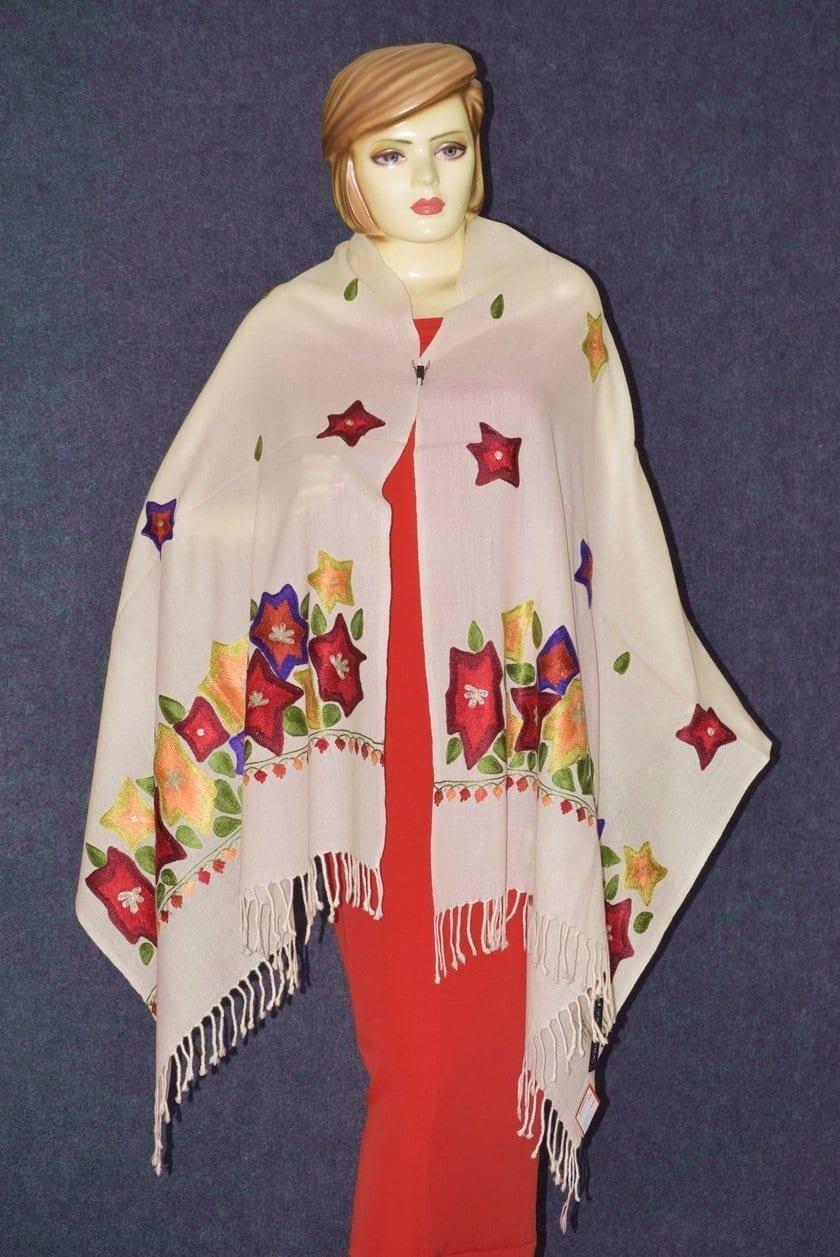 Pure Pashmina Kashmiri multicolor thread embroidered woollen stole C0447 3