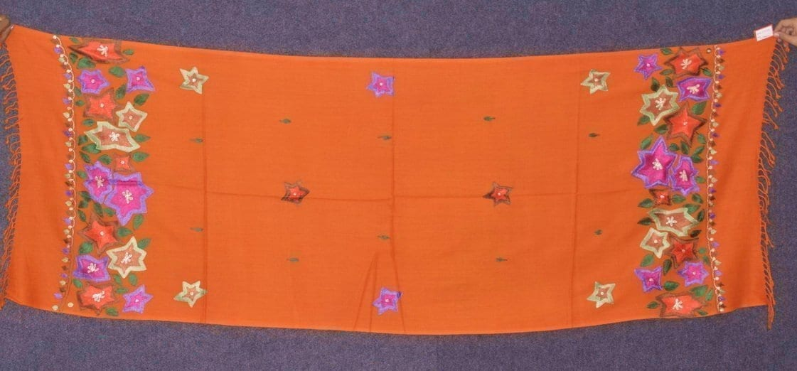 Pure Pashmina Kashmiri multicolor thread embroidered woollen stole C0448 1