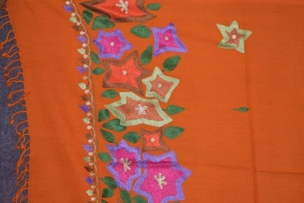Pure Pashmina Kashmiri multicolor thread embroidered woollen stole C0448