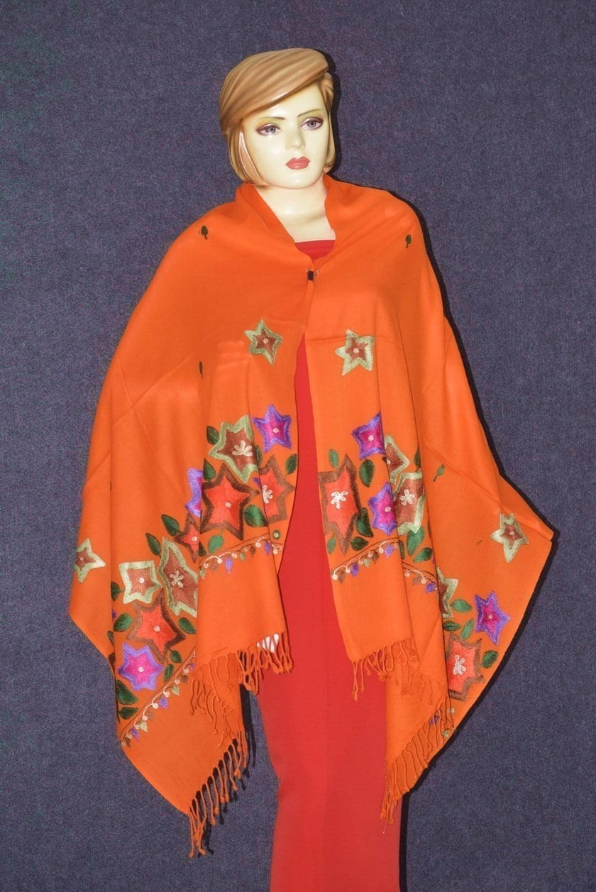 Pure Pashmina Kashmiri multicolor thread embroidered woollen stole C0448 3