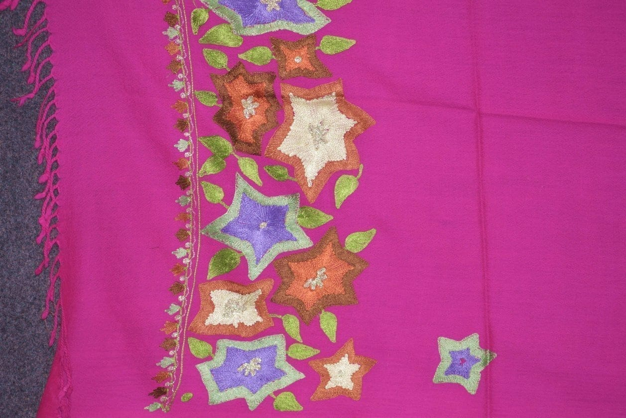 Pure Pashmina Kashmiri multicolor thread embroidered woollen stole C0449 2