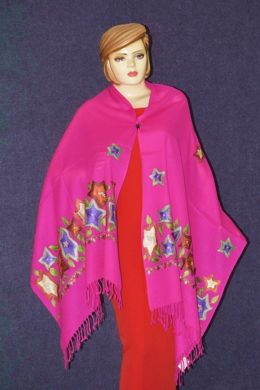 Pure Pashmina Kashmiri multicolor thread embroidered woollen stole C0449 3