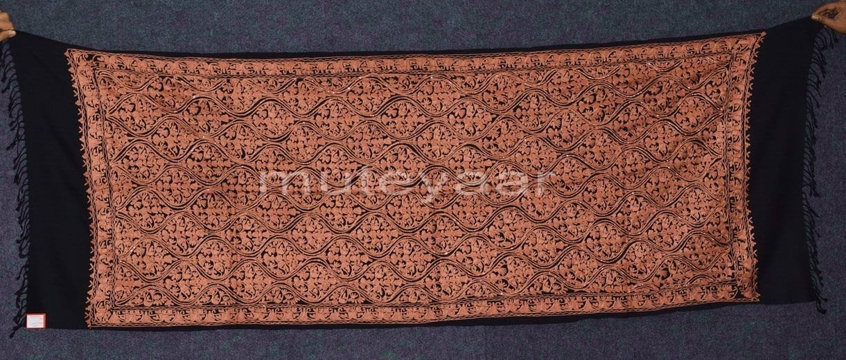 Kashmiri PURE Pashmina Heavy Matka embroidered woollen stole C0460 1