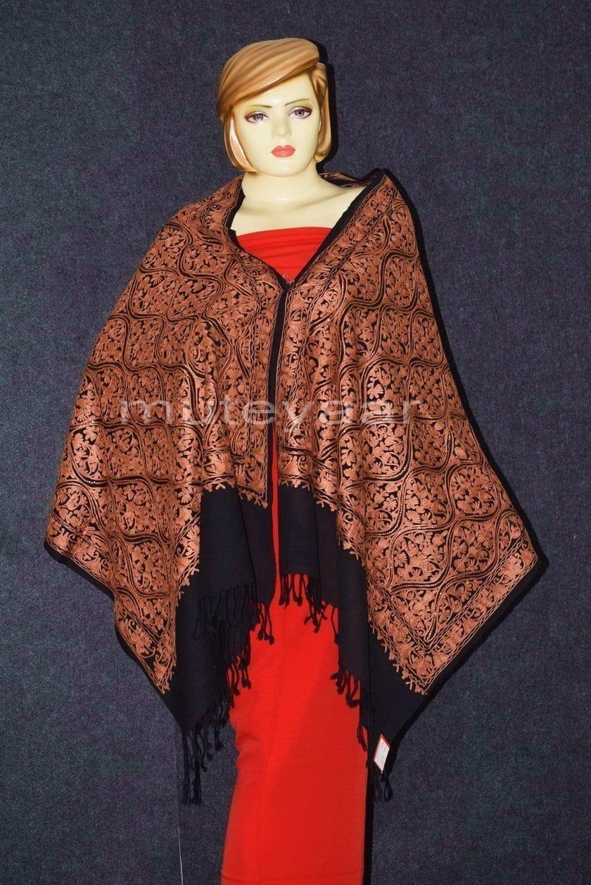 Kashmiri PURE Pashmina Heavy Matka embroidered woollen stole C0460 3