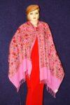 PURE Pashmeena Kashmiri Multicolour Sequins Jaal embroidered woollen stole C0470