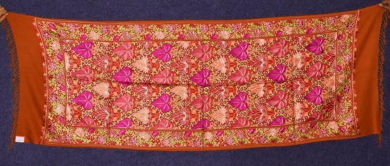 PURE Pashmeena Kashmiri Reshmi Multicolour Chinar Jaal embroidered woollen stole C0471 1