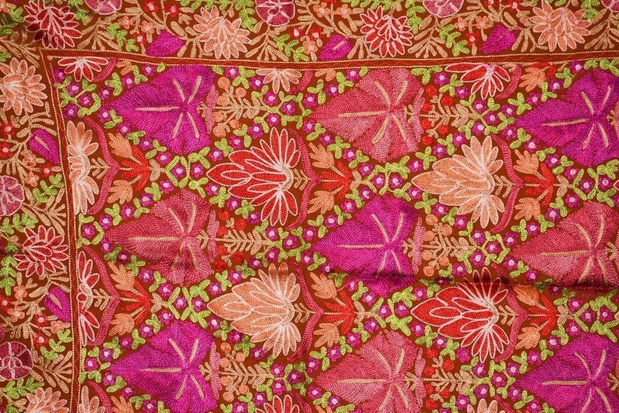 PURE Pashmeena Kashmiri Reshmi Multicolour Chinar Jaal embroidered woollen stole C0471 2