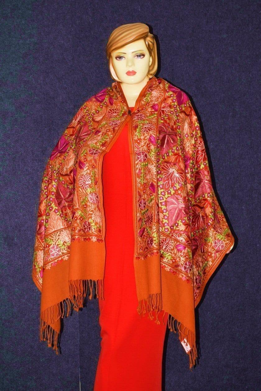 PURE Pashmeena Kashmiri Reshmi Multicolour Chinar Jaal embroidered woollen stole C0471 3
