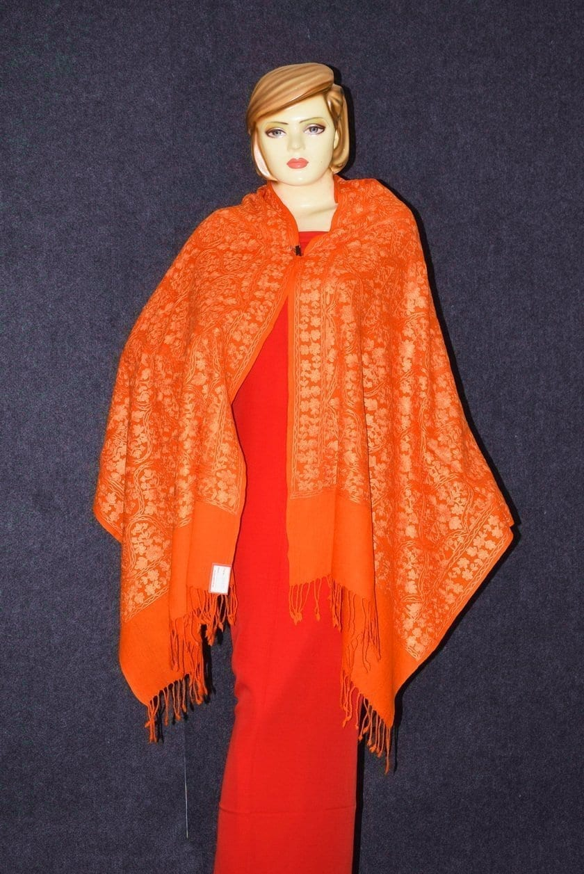 PURE Pashmeena Kashmere New Matka Jaal embroidered woollen stole C0475 3
