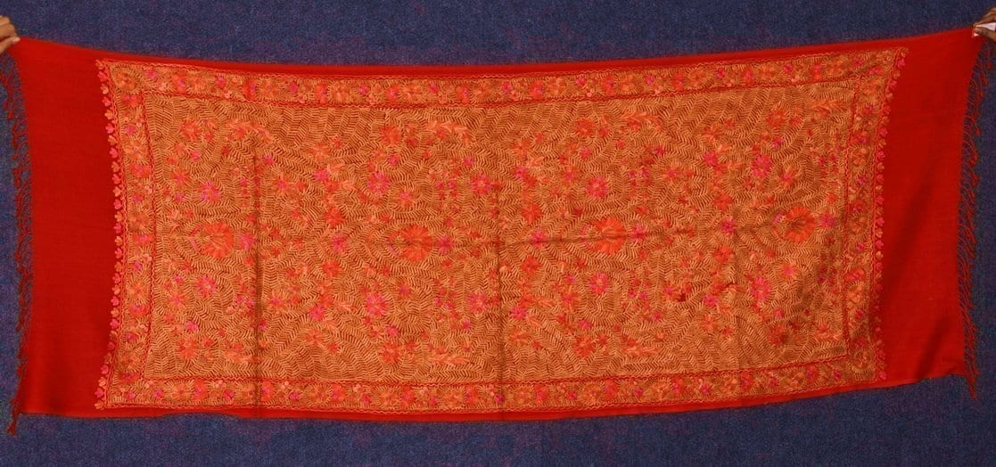 PURE Pashmeena Kashmere Heavy Jaal embroidered woollen stole C0478 1