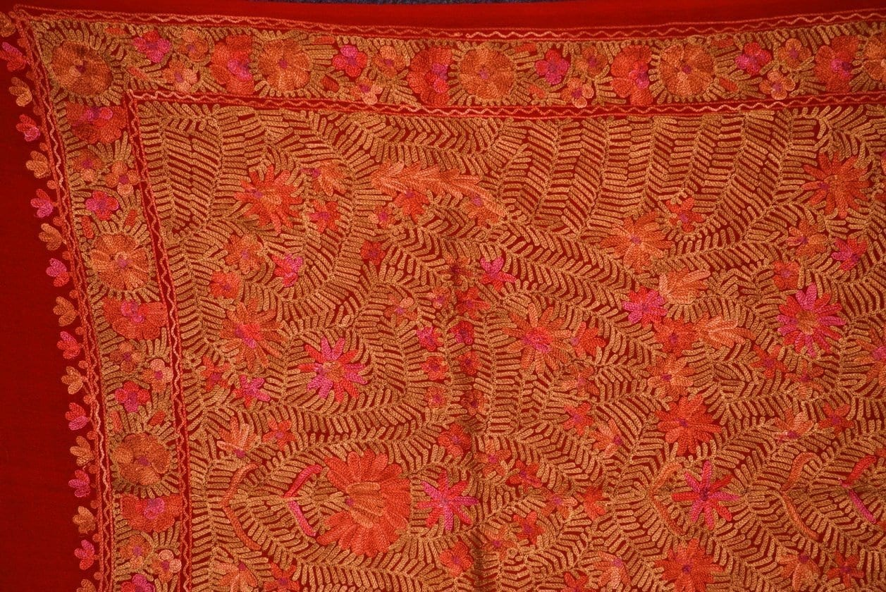 PURE Pashmeena Kashmere Heavy Jaal embroidered woollen stole C0478 2