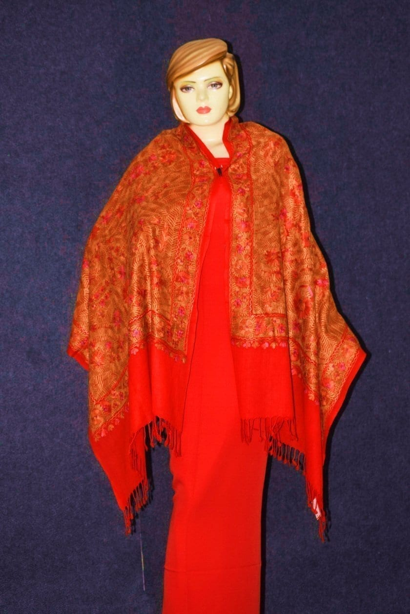 PURE Pashmeena Kashmere Heavy Jaal embroidered woollen stole C0478 3