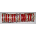 Custom made Red Silver Bridal Chura for the Punjabi Bride CH004