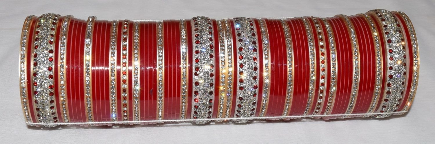 Custom made Red Silver Bridal Chura for the Punjabi Bride CH004 1
