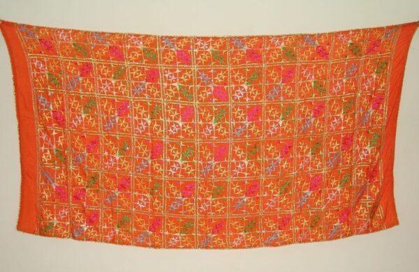 Orange BRIDAL CHINON Phulkari Dupatta with Gota work D0682