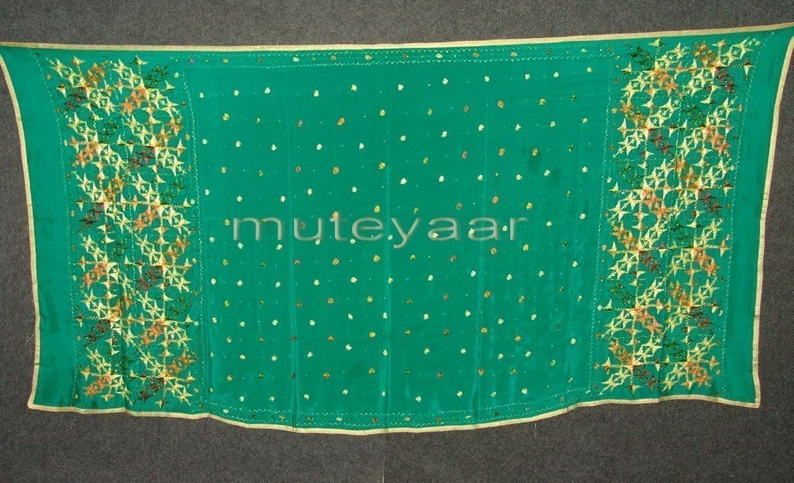 PURE CHINON hand embroidered Phulkari Dupatta Chunni D0698 1
