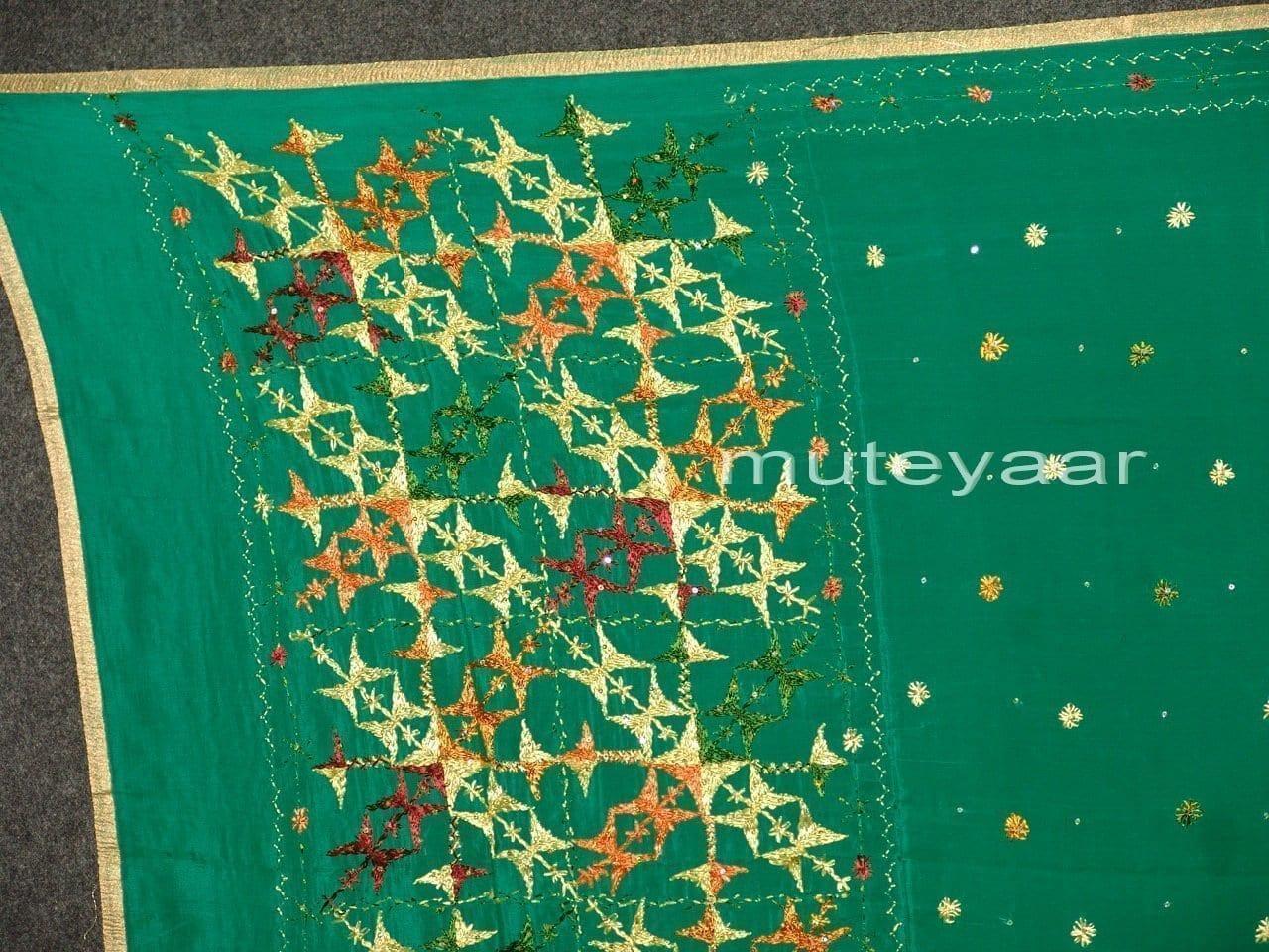PURE CHINON hand embroidered Phulkari Dupatta Chunni D0698 2
