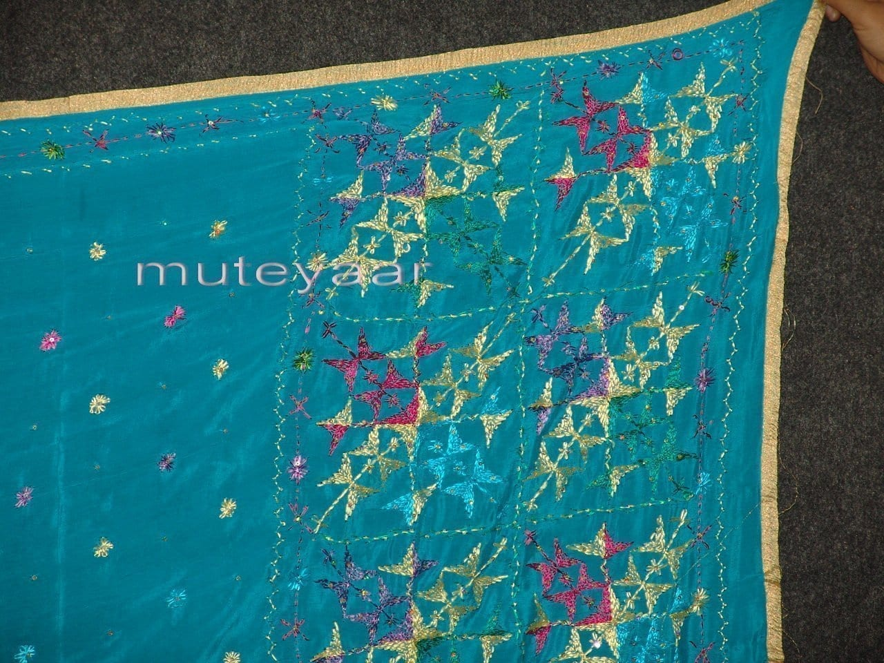 PURE CHINON hand embroidered Fulkari Dupatta Chunni D0708 2