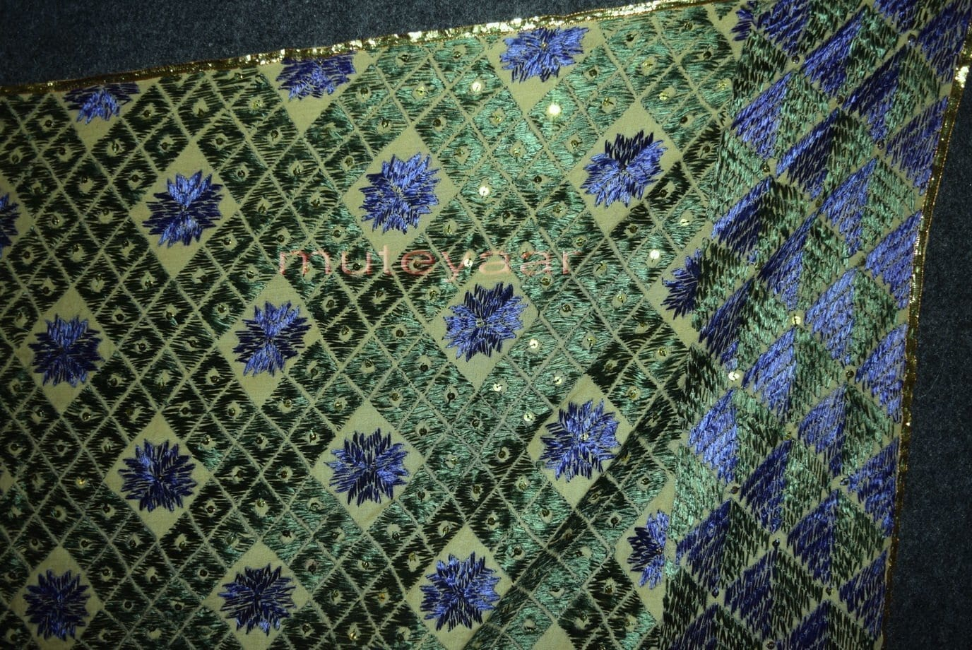 Phulakri Bagh Hand Embroidered Multicolor Cotton Dupatta Fabric D0744 2