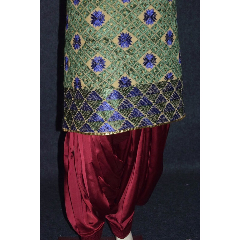 Phulakri Bagh Hand Embroidered Multicolor Cotton Dupatta Fabric D0744