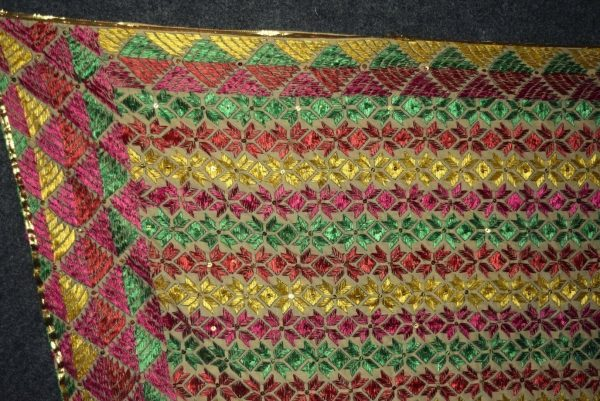 Phulakri Bagh Hand Embroidered Multicolor Cotton Dupatta Fabric D0746