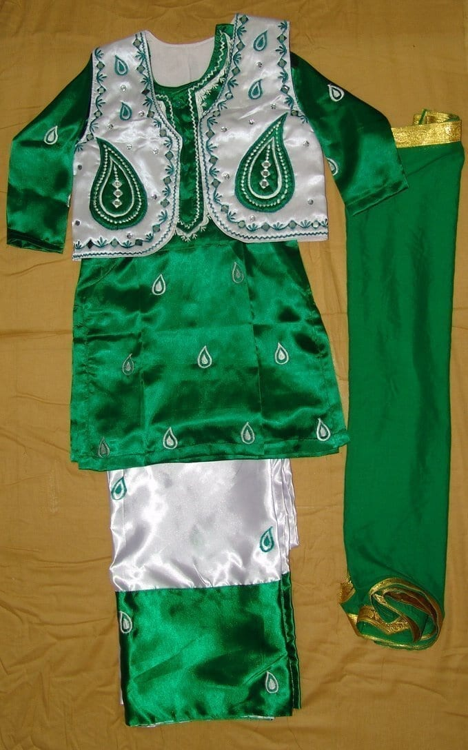Girl's embroidered Bhangra Costume outfit dress with Jewellery 1