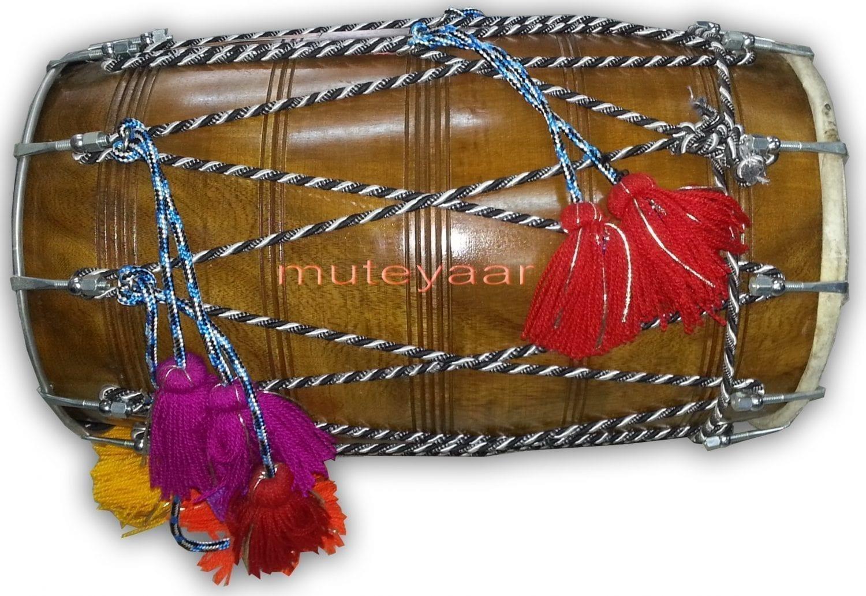 DHOL - Red Tahli / Sheesham hard wood BHANGRA prop with Packing Bag !! 1