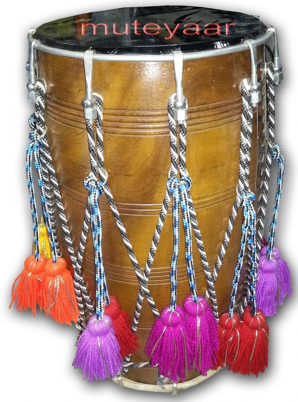 DHOL - Red Tahli / Sheesham hard wood BHANGRA prop with Packing Bag !! 2