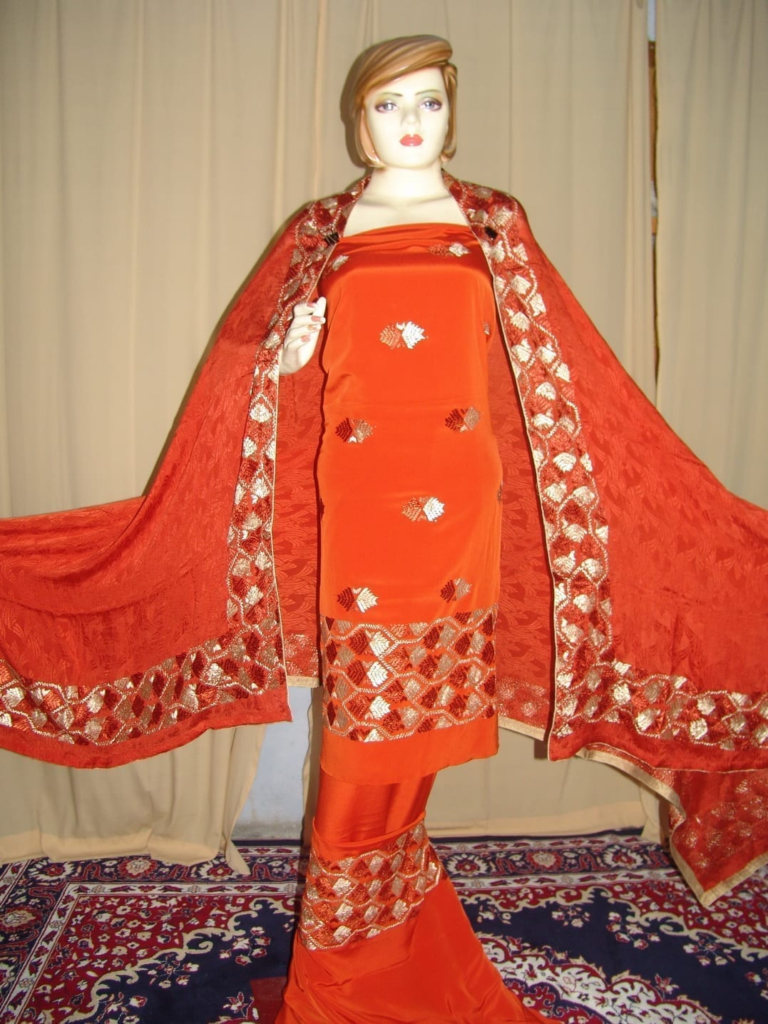 PHULKARI butter Crepe Suit with pure CHINON dupatta F0581 3