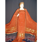 Rust Brown PHULKARI pure crepe suit pure chinon dupatta F0597