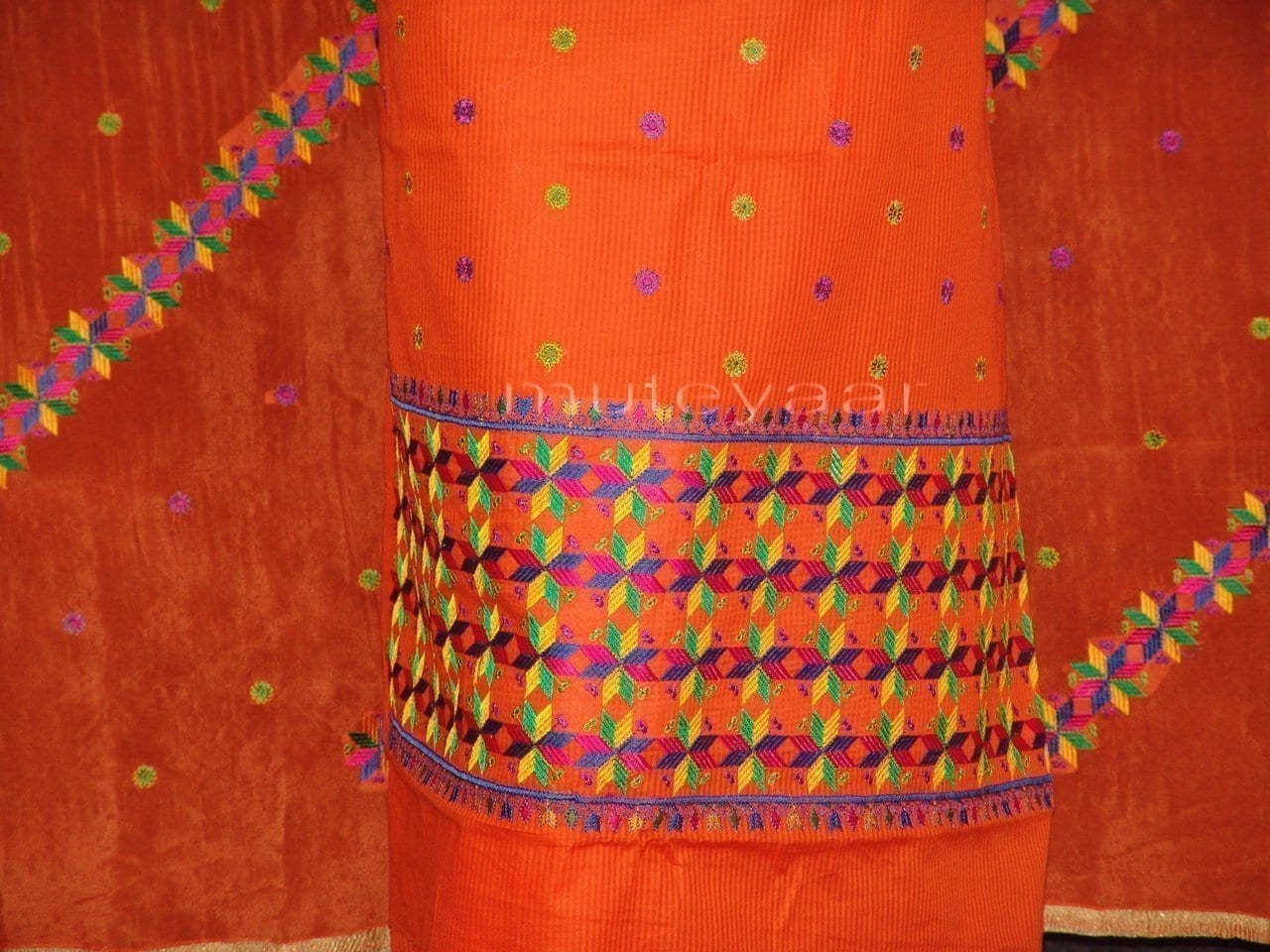 Cotton M/C EMBR. PHULKARI suit PURE CHINON DUPATTA  F0640 2