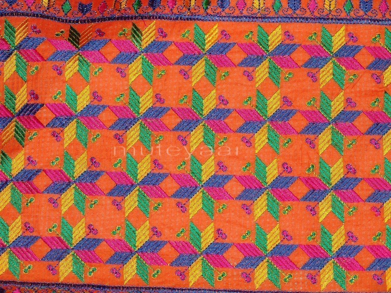 Cotton M/C EMBR. PHULKARI suit PURE CHINON DUPATTA  F0640 3