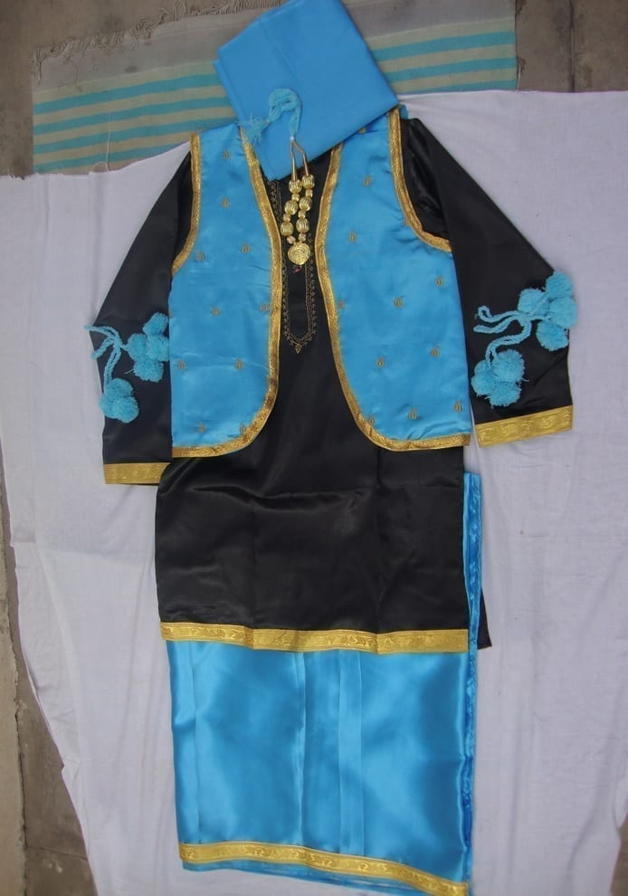 FIROZI/BLACK Bhangra dance Costume / outfit dress- ready to wear 1