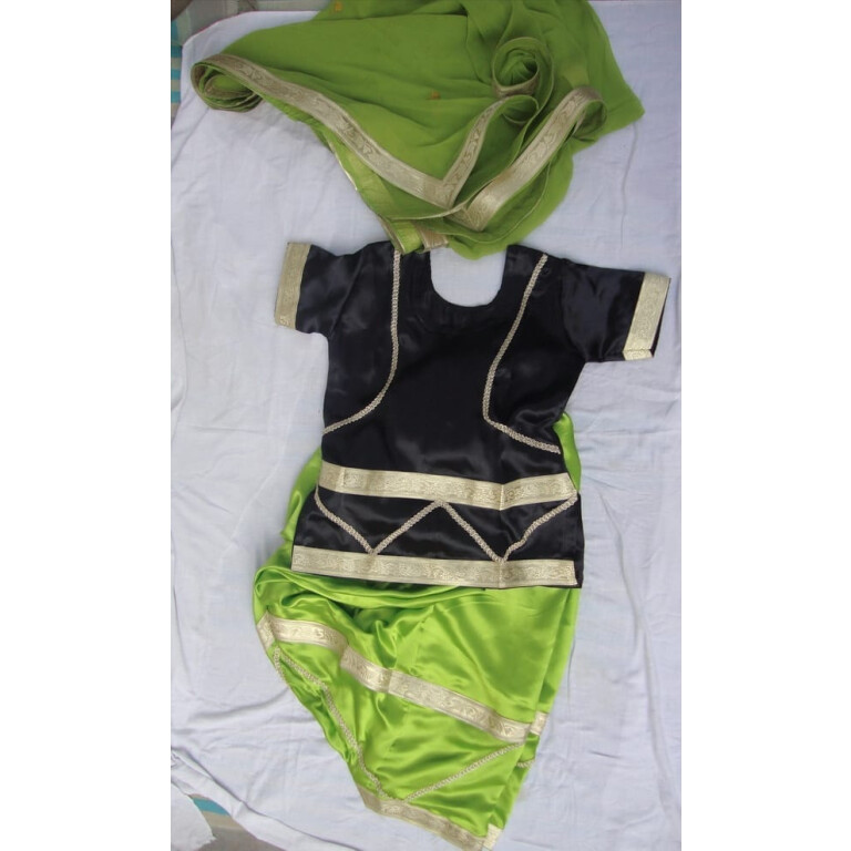 GREEN / BLACK Girl's Bhangra Costume outfit dance dress
