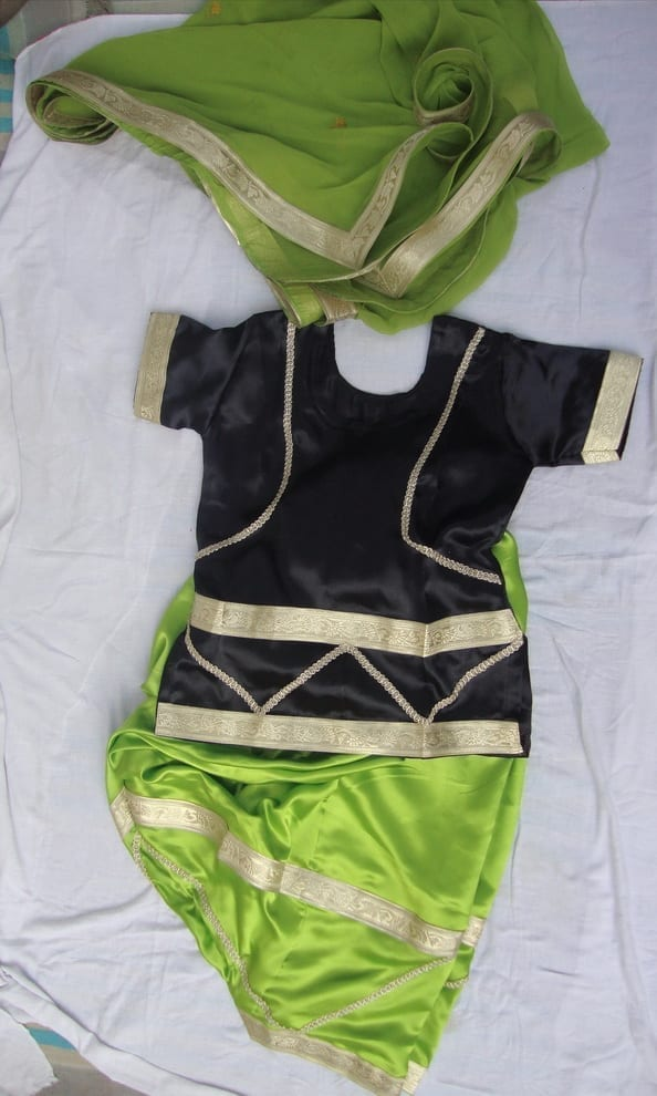 GREEN BLACK Girl's Bhangra Costume Outfit Dance Dress 1