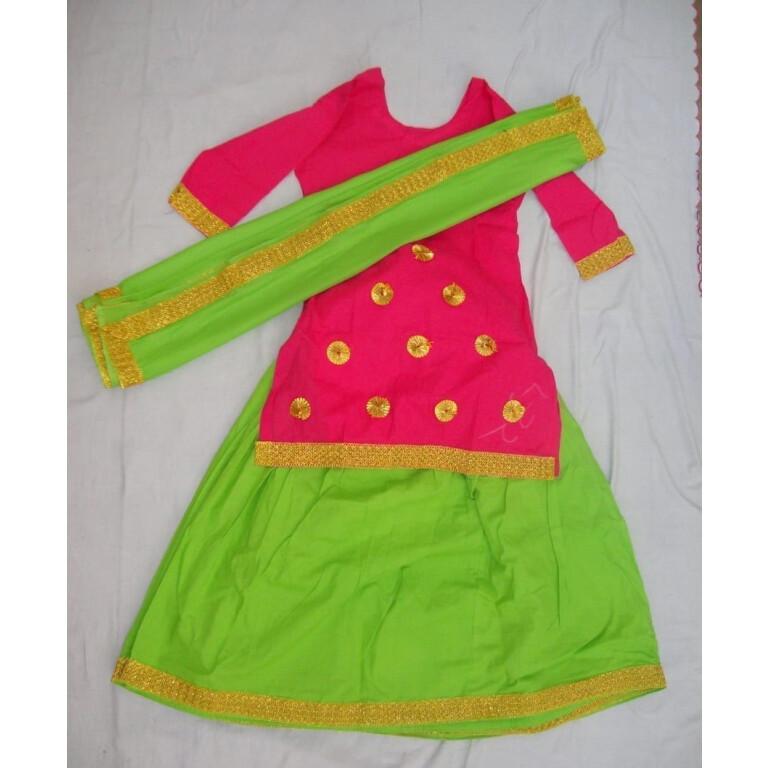 Green magenta custom made GIDDHA  Costume outfit ghagra dress