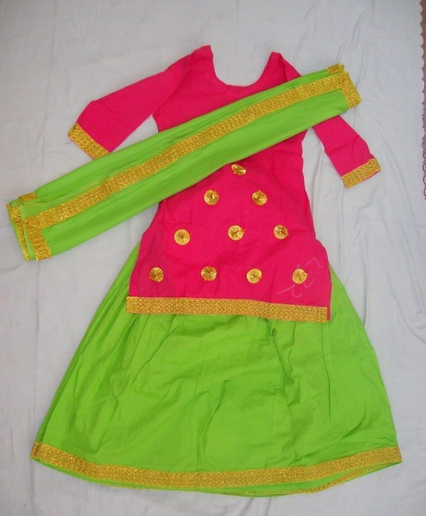 Green magenta custom made Giddha Costume outfit ghagra dress 1