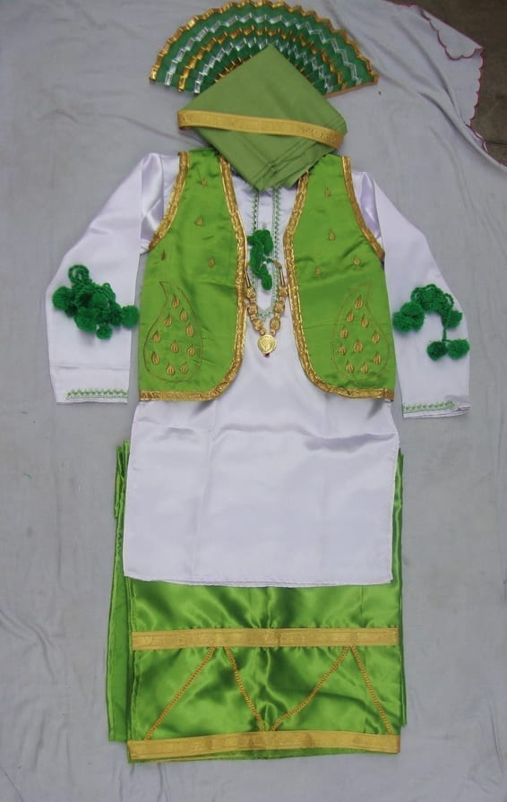 Green White Bhangra dance Costume / outfit dress 1
