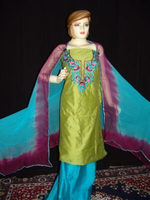 Chanderi cotton hand embroidered suit pure chiffon dupatta H0008