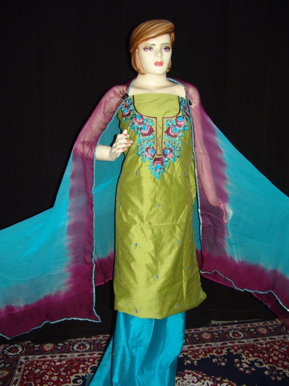Chanderi cotton hand embroidered suit pure chiffon dupatta H0008 1