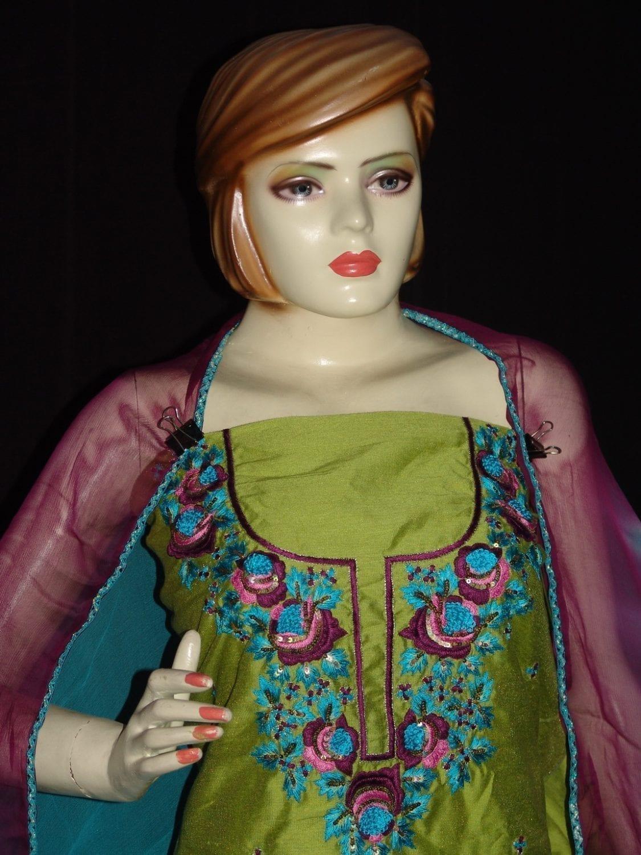 Chanderi cotton hand embroidered suit pure chiffon dupatta H0008 2