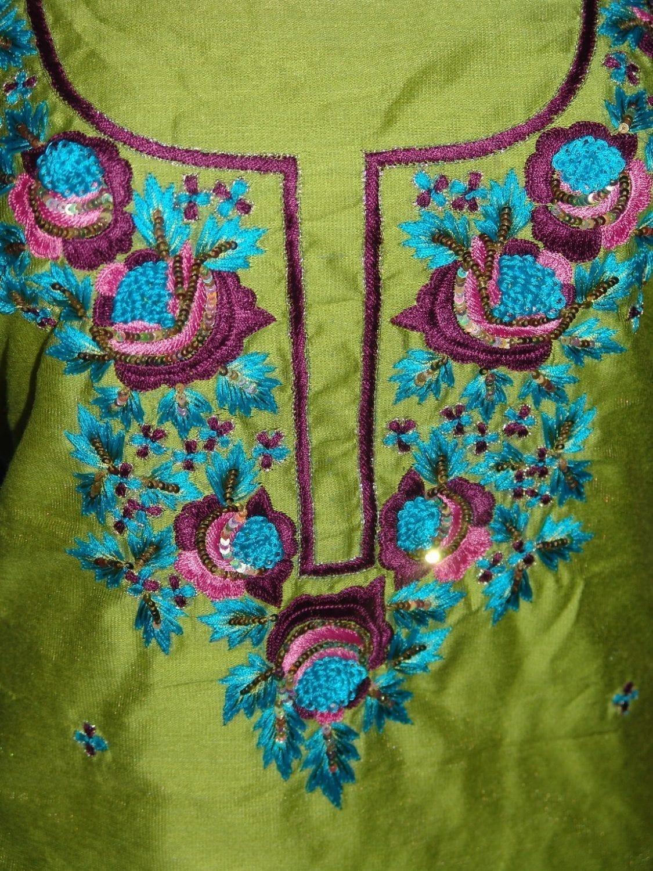 Chanderi cotton hand embroidered suit pure chiffon dupatta H0008 3