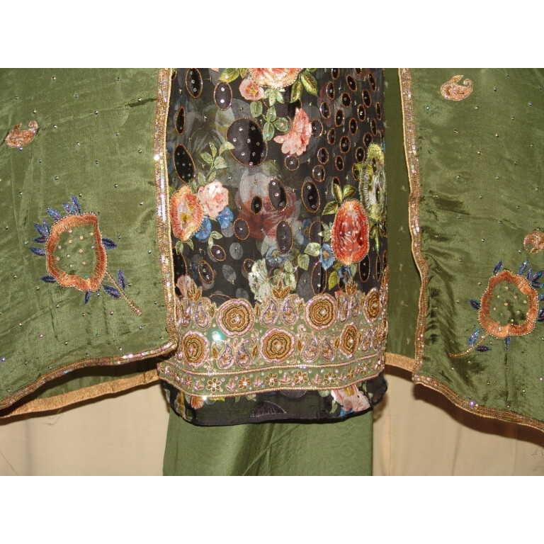 PURE BROCHIER/PURE CREPE/PURE CHINON hand embroidered Suit H0017