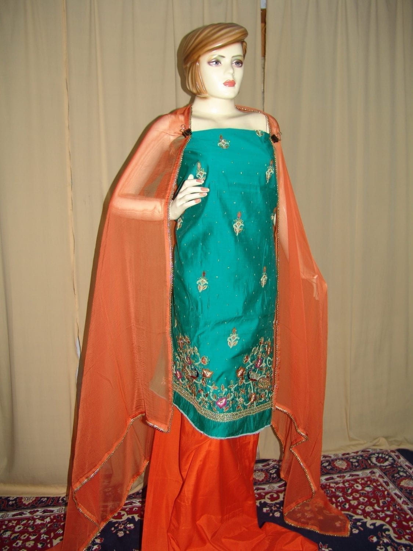 Chanderi Cotton Hand Embroidered partywear Punjabi Suit H0027 1