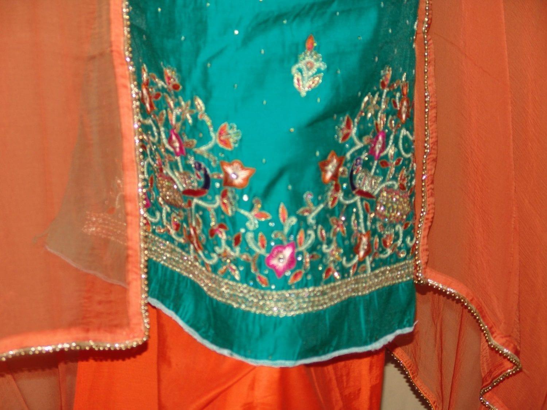 Chanderi Cotton Hand Embroidered partywear Punjabi Suit H0027 2