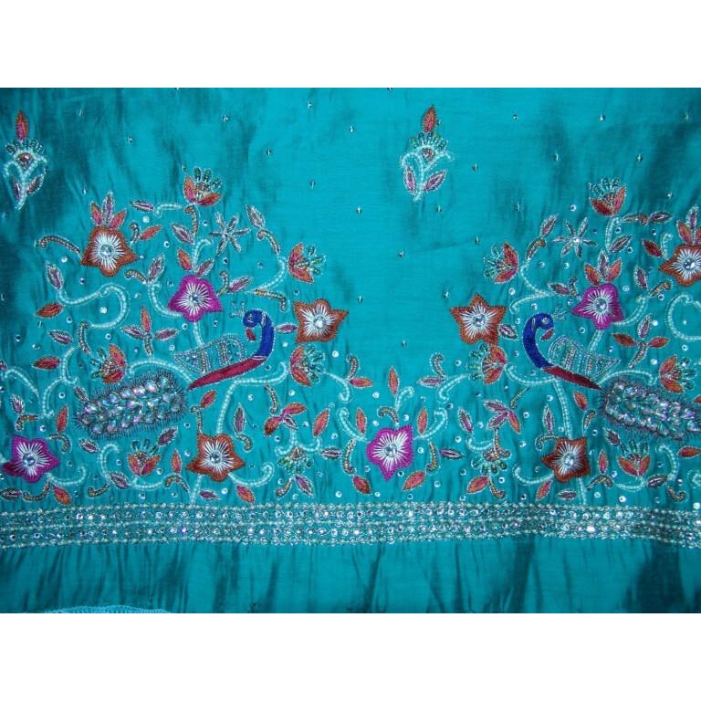 Chanderi Cotton Hand Embroidered partywear Punjabi Suit H0027