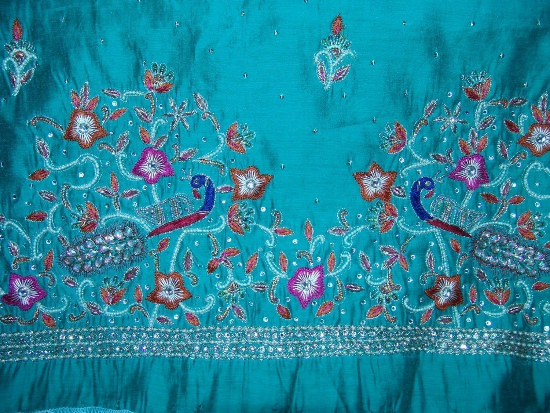 Chanderi Cotton Hand Embroidered partywear Punjabi Suit H0027 3